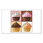 Pop Art Cupcake Sticker (Rectangle)
