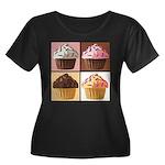 Pop Art Cupcake Women's Plus Size Scoop Neck Dark