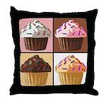 Pop Art Cupcake Throw Pillow