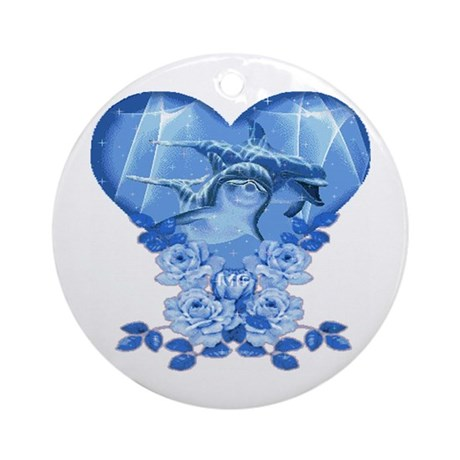 Dolphin Hearts Ornament (Round)