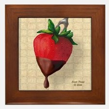 Chocolate Dipped Strawberry Framed Tile