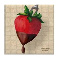 Chocolate Dipped Strawberry Tile Coaster