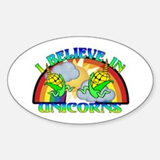 I Believe In Unicorns Sticker (Oval)