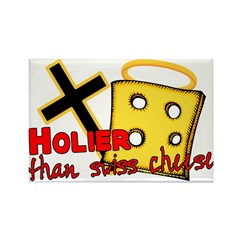 Holier Than Swiss Cheese Rectangle Magnet (10 pack
