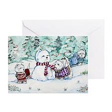 Westie Snow Dogs Greeting Cards (Pk of 10)