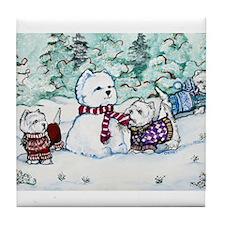 Westie Snow Dogs Tile Coaster
