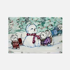 Westie Snow Dogs Rectangle Magnet
