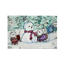 Westie Snow Dogs Rectangle Magnet (10 pack)