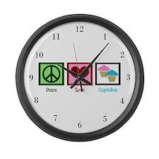 Peace Love Cupcakes Large Wall Clock