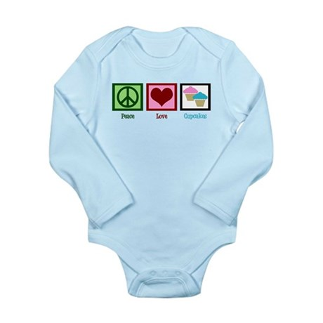 Peace Love Cupcakes Long Sleeve Infant Bodysuit