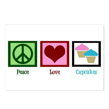 Peace Love Cupcakes Postcards (Package of 8)