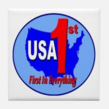 USA First In Everything Tile Coaster