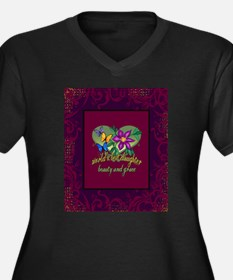 Beautiful Daughter Women's Plus Size V-Neck Dark T
