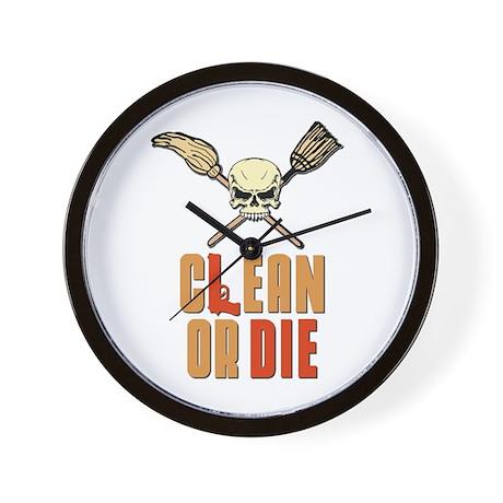 Clean Or Die Wall Clock by CleanOrDieMopBroom
