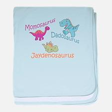 Mom, Dad & Jaydenosaurus baby blanket