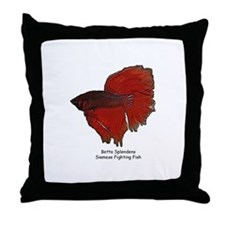 Red Betta Splendens -Siamese  Throw Pillow