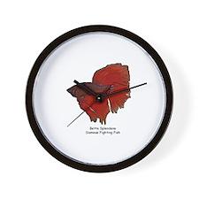 Red Betta Splendens -Siamese  Wall Clock