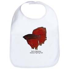 Red Betta Splendens -Siamese  Bib