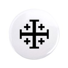 "Jerusalem cross 3.5"" Button"