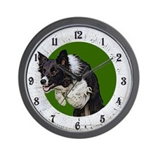 Border Collie Agility Green Wall Clock
