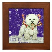 West Highland Let it Snow Framed Tile