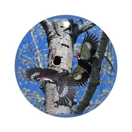 Pileated Woodpecker Family Ornament (Round)