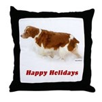 Brittany Spaniel Holiday Christmas Throw Pillow
