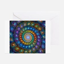 Fractal Spiral Beads Shirt Greeting Cards