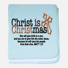 Christ back in Christmas baby blanket