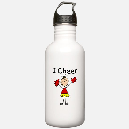 Stick Figure I Cheer Water Bottle