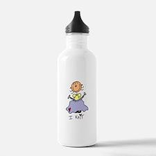 I Knit Stick Figure Water Bottle