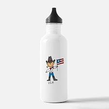 USA Stick Figure Water Bottle