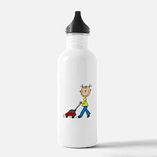Stick Girl Mowing Lawn Water Bottle