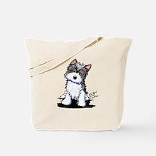 Biewer Yorkie Puppy Tote Bag