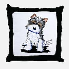 Biewer Yorkie Puppy Throw Pillow