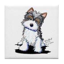 Biewer Yorkie Puppy Tile Coaster