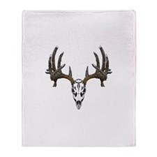 Whitetail deer skull Throw Blanket