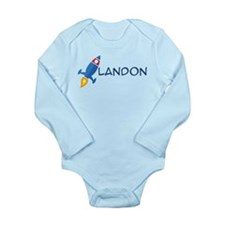Landon Rocket Ship Long Sleeve Infant Bodysuit