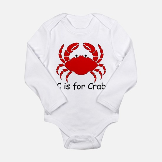 C is for Crab Long Sleeve Infant Bodysuit