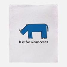 R is for Rhino Throw Blanket