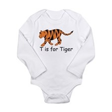 T is for Tiger Long Sleeve Infant Bodysuit