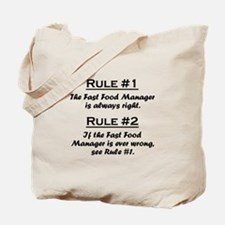 Fast Food Manager Tote Bag
