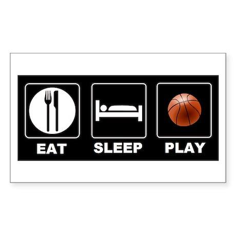 Eat Sleep Play Basketball Sticker (Rectangle)