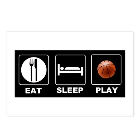 Eat Sleep Play Basketball Postcards (Package of 8)