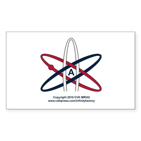 Atheist Symbol RWB Sticker (Rectangle)