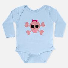 Funny Pink Skull Long Sleeve Infant Bodysuit