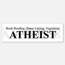 Book Peace Vegetarian Atheist Bumper Bumper Sticker