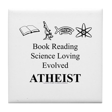 Book Science Evolved Atheist Tile Coaster