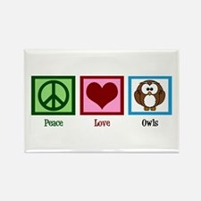 Peace Love Owls Rectangle Magnet