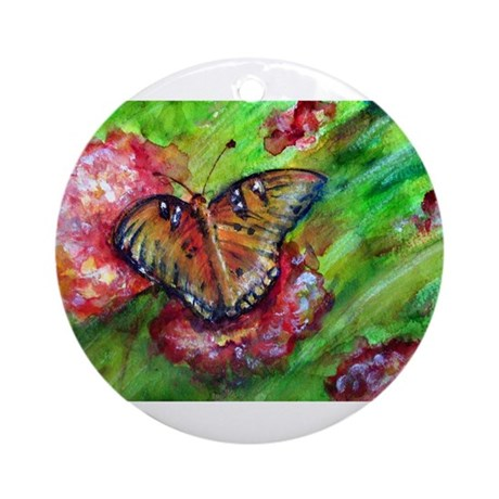 Butterfly, Floral, colorful, Ornament (Round)